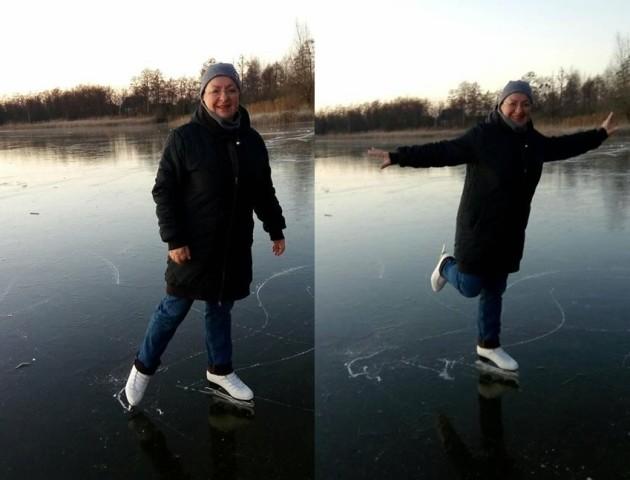 На волинському озері вже катаються на ковзанах. ФОТО