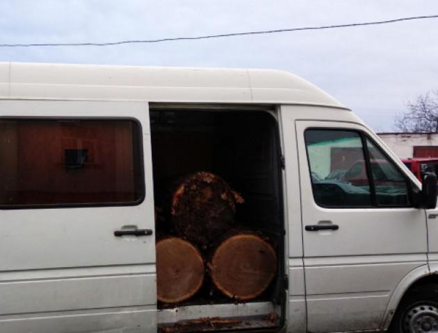 На Волині затримали бус із краденим деревом