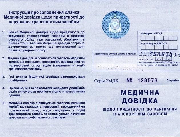 В Україні скасують медичні довідки для водіїв