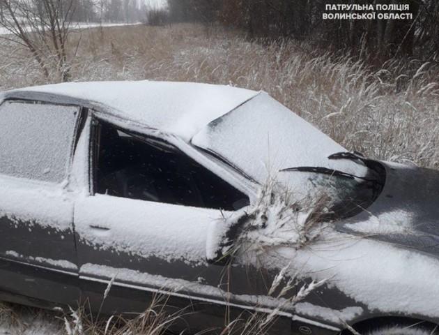 На Волині через сніг та ожеледицю авто злетіло у кювет. ФОТО