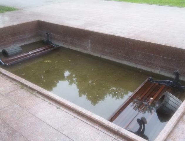 Смітники і лавки у фонтані: у луцькому парку похуліганили невідомі. ФОТО