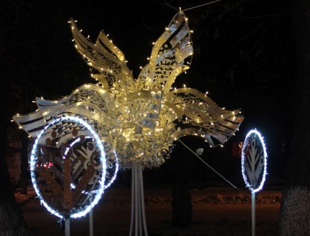 На луцькій вулиці встановили різдвяні дерева та крила. ФОТО