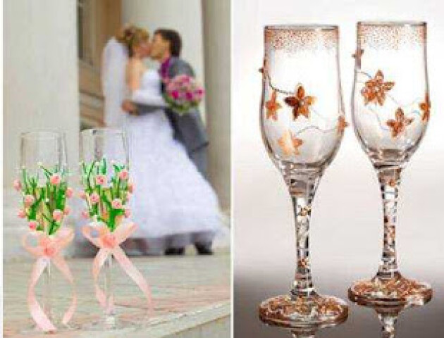 Шість способів прикрасити весільні келихи