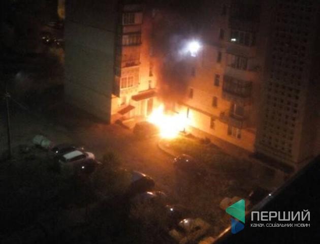 З'явилося відео підпалу авто у Луцьку