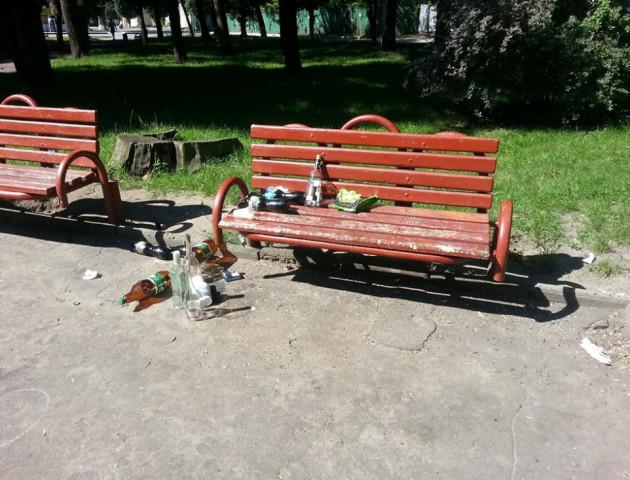 Купи пляшок і налузаного насіння: у Ковелі загидили парк. ФОТО