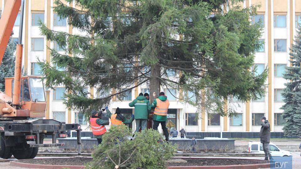 У Нововолинську уже встановили головну ялинку