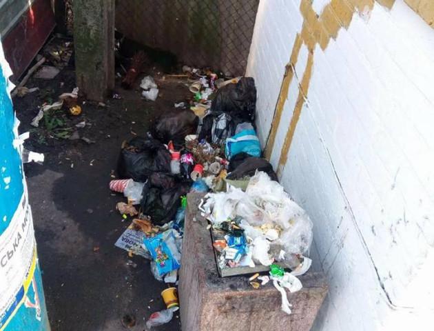 Луцьку зупинку очистили від гори сміття