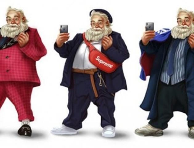 Таким Санту ви ще не бачили: ілюстратор одягнув дідуся в образи модних брендів