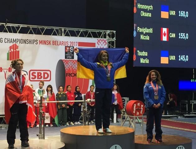 Лучанка - чемпіонка світу з класичного пауерліфтингу серед юніорок