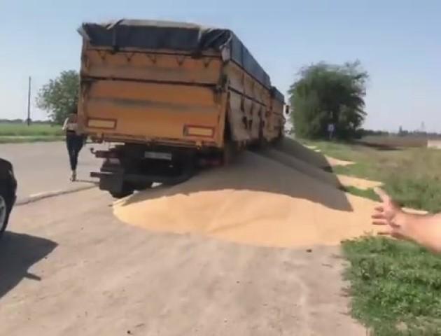 Щоб не платити штраф, водій висипав зерно на дорогу. ВІДЕО